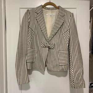 DVF Black and White Striped Belinda Blazer 8